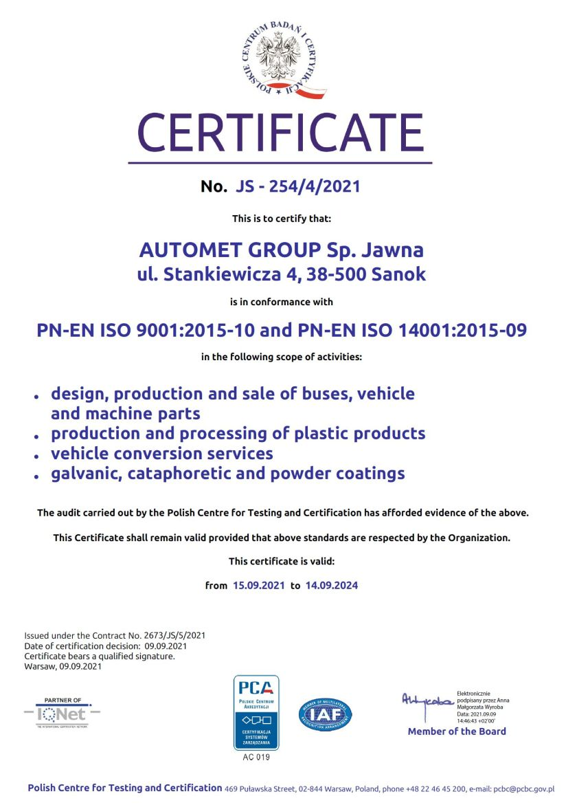 2018 Integrated Management System Certificate